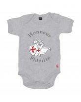 AUGUSTIN Le Body bébé catholique avec marquage templier et devise