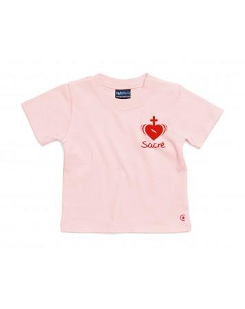 LYDIE Petit tee shirt catholique pour filles avec le Sacré Cœur