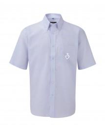 SIMON La chemise catholique classique Oxford pour homme avec un joli marquage du Sacré Cœur Jésus Caritas