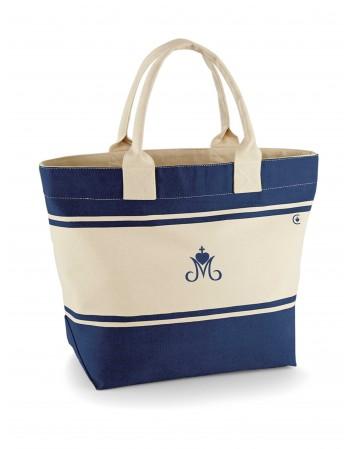 VIRGINIE Le sac cabas catholique en toile de coton marine-écru avec un marquage du Cœur sacré de Marie