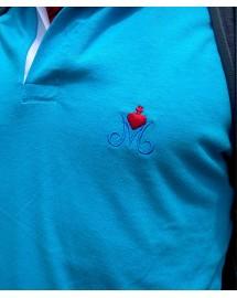 JOACHIM Polo de rugby brodé catholique pour homme avec le M marial bleu azur surmonté du Sacré Coeur