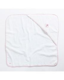 FIDELA Drap de bain pour bébé fille avec une jolie Coquille St Jacques brodée fushia
