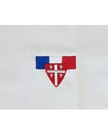 Polo brodé Blanc Manches courtes PCCB