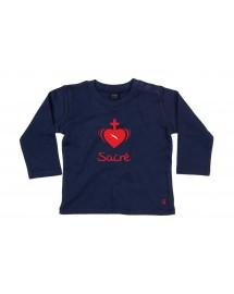 FELIX Tee-shirt Bébé brodé avec le Coeur sacré de Jésus