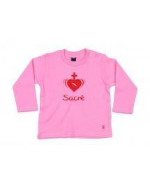 ZOE Tee shirt brodé pour bébé avec un joli sacré coeur de Jésus